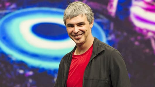 Google co-founder and CEO Larry Page speaks at Google I/O in San Francisco.