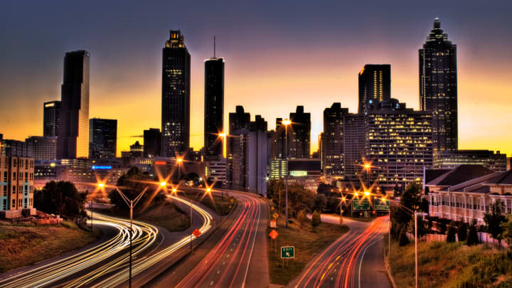 Georgia's roads are among the best maintained in the country. Here, the Atlanta skyline.