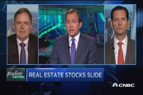 Real estate stocks slide
