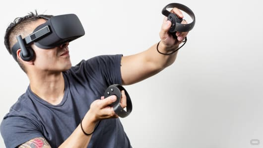 The new Oculus Touch input device for the Rift virtual reality headset.