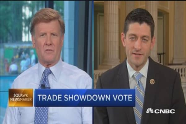 We have votes for TPA: Rep. Ryan