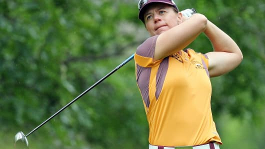 Annika Sorenstam of Sweden tees off during the second round of the 2008 U.S. Women's Open Championship in Edina, Minn.