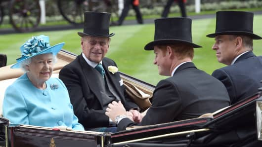 Queen Elizabeth ll; Prince Philip; Prince Harry & Prince Andrew; at Royal Ascot