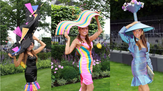 Tracy Rose fashioning her hat designs, at Royal Ascot