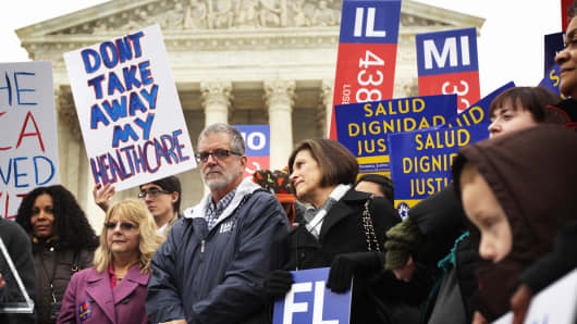Supporters of the Affordable Care Act gather in front of the U.S Supreme Court during a rally in Washington last March.