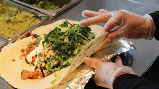 Food preparation at a Chipotle restaurant