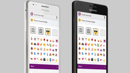 What the emoji passcode system looks like on a Smartphone