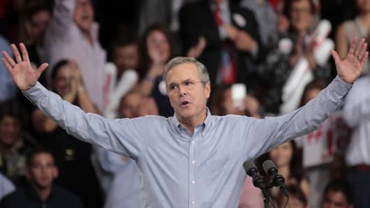 Jeb Bush formally announces his presidential bid in Miami, June 15, 2015.