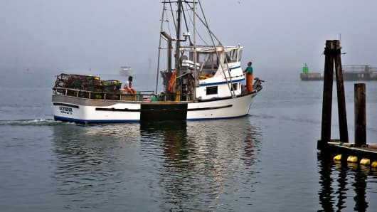A commercial fishing boat which catches dungeness crabs in Bodega Bay, California.