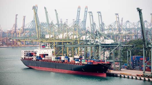 Singapore harbor.