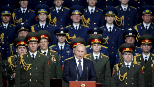 Russian President Putin delivers a speech at the opening of the Army-2015 international military forum on Tuesday.