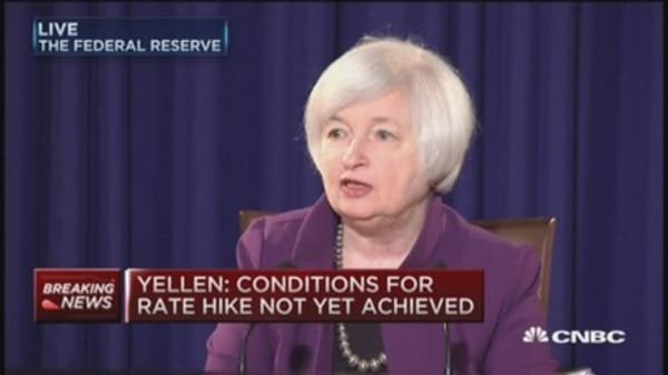 Yellen: Economic conditions don't warrant hike