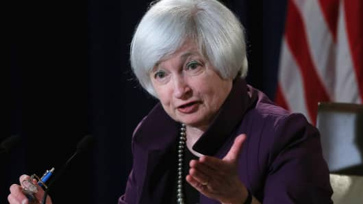 Federal Reserve Bank Chair Janet Yellen speaks following a meeting of the Federal Open Market Committee June 17, 2015 in Washington, DC.