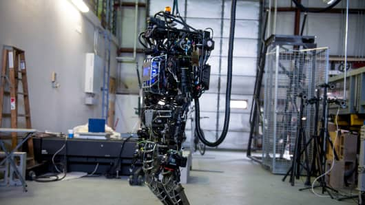 The capabilities of the Atlas robot are demonstrated during MIT's Computer Science and Artificial Intelligence Laboratory's Demo Day in Boston.