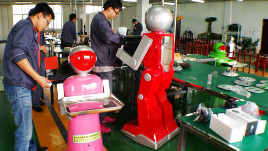 A robot manufacturer in China's Harbin Economic and Technological Development Zone.