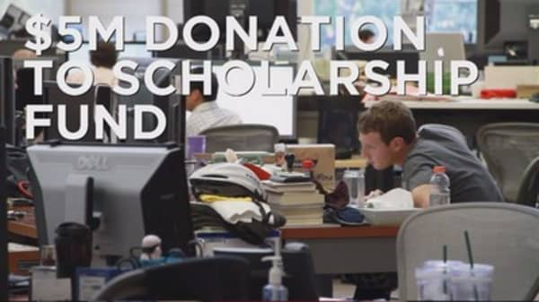 Zuckerberg donates $5M to college fund