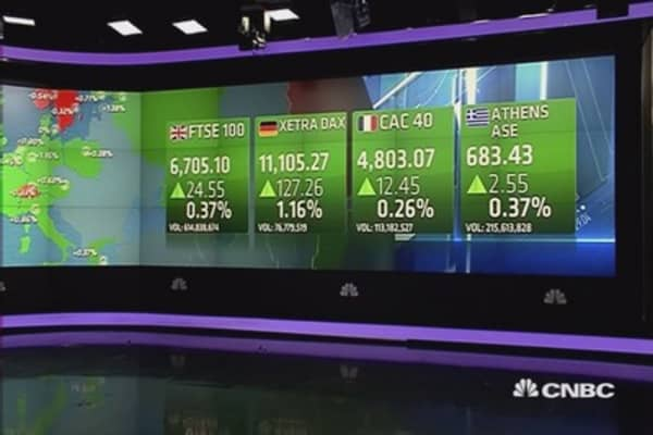 Europe shares close higher; Greece in focus
