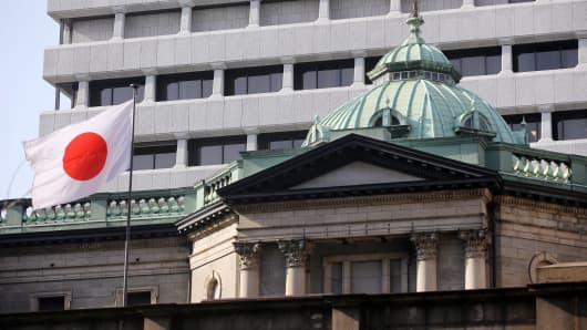 A Japanese flag flies atop the Bank of Japan (BOJ) headquarters in Tokyo, Japan