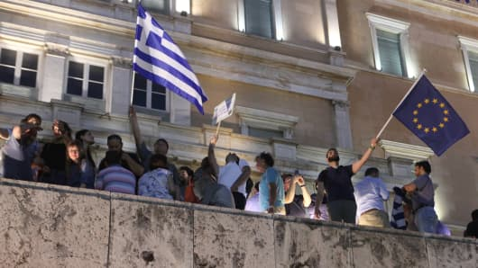 Anti-government demonstrators in Athens on June 18, 2105