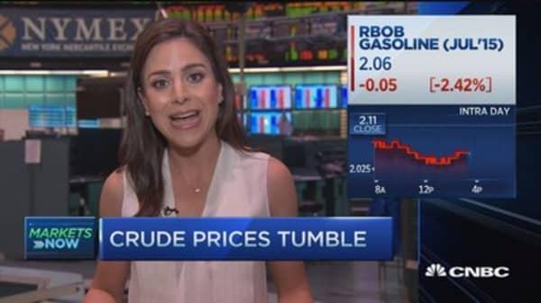 Heavy supply & Greece turmoil weigh on oil