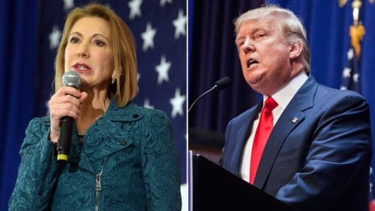Former Hewlett-Packard CEO Carly Fiorina and Donald Trump