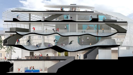 Design of the Urban Sports Center, Folkestone