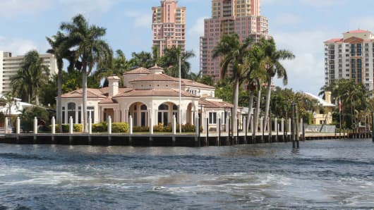 The Intercostal Waterway in Fort Lauderdale, Florida.