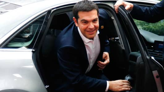 Greek Prime Minister Alexis Tsipras arrives to attend a Eurozone emergency summit on Greece in Brussels, Belgium June 22, 2015.