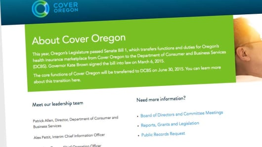 A Cover Oregon webpage