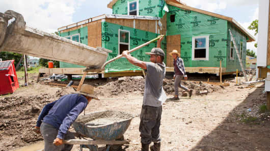 Work on new houses in New Orleans, Louisiana