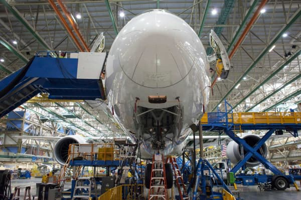 A 787 airplane during the manufacturing process at the Boeing facility in Everett, Washington.