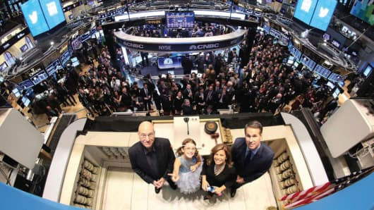 Left to right: Patrick Stewart, Vivienne Harr, Cheryl Fiandaca and Evan Williams at the New York Stock Exchange for Twitter's IPO.