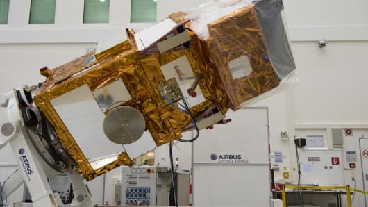 Sentinel-2A at IABG's facilities in Ottobrunn, Germany in February 2015, before being packed up and shipped to French Guiana for launch.