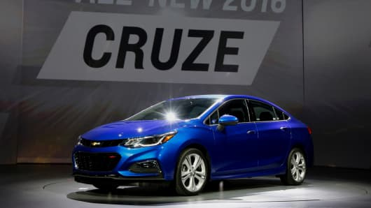 The General Motors Co. Chevrolet Cruze vehicle is unveiled during an event at the Fillmore Theater in Detroit, Michigan.