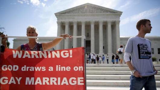 Protesters on the gay marriage issue in front of the U.S. Supreme Court building in Washington, June 22, 2015.