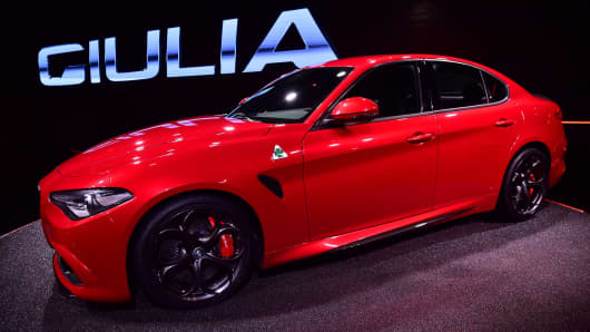 The new Alfa Romeo car called 'Giulia', constructed by Fiat Chrysler, is presented to the press in the Alfa Romeo Museum in Arese, on June 24, 2015.