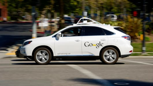 A Google self-driving car at their company's headquarters in Mountain View, California.