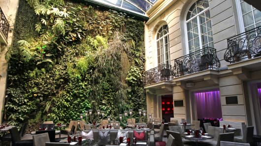 The vertical garden (Vegetal Wall) is shown in the courtyard of the Pershing Hall hotel in Paris.