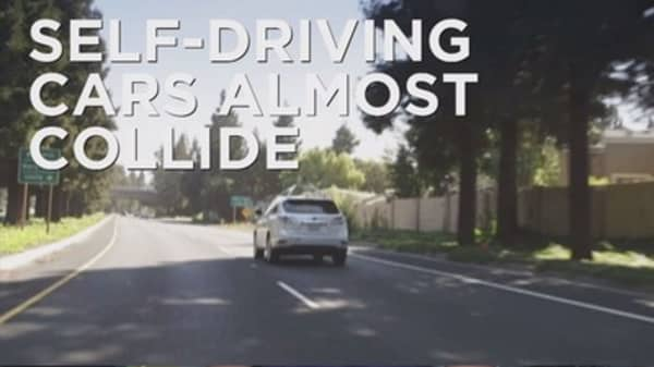Close call for self driving cars