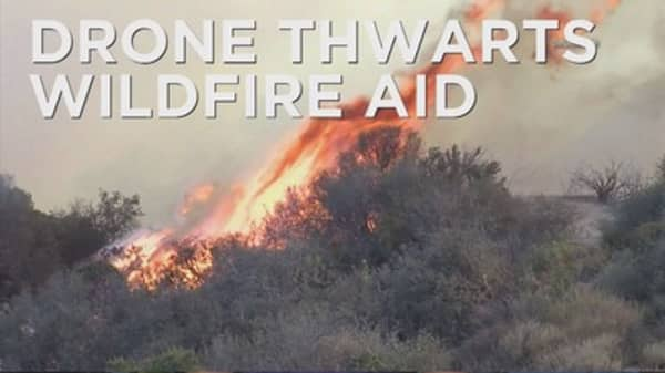 Drone gets in the way of firefighters