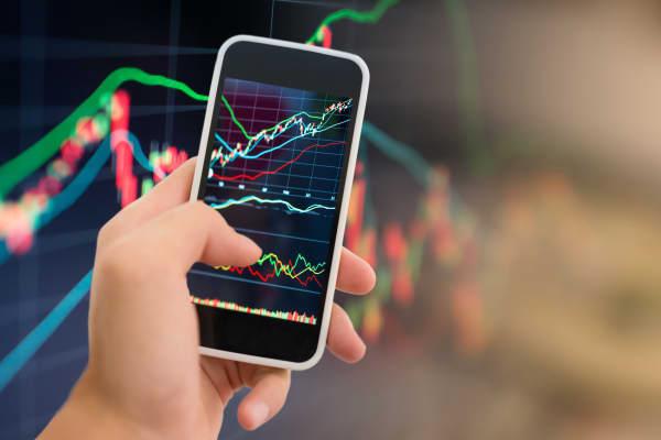Stock market graph on smartphone