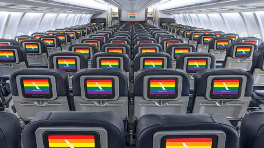American Airlines gay pride rainbow flag