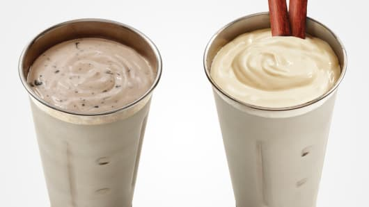 Wayback Burgers' Oreo Mud Pie Cricket Protein Milkshake, left, and Jerky Milkshake.