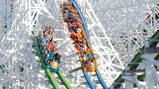 The Twisted Colossus roller coaster at Six Flags Magic Mountain in Valencia, Calif.