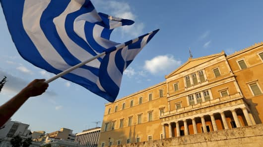 A Greek flag during a rally in Athens.