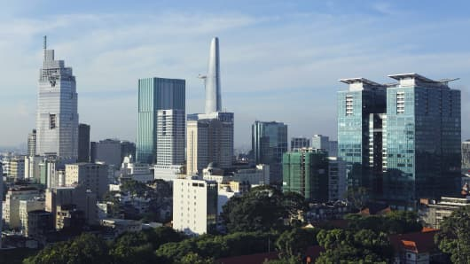 The skyline of the downtown area, Ho Chi Minh City, Vietnam.