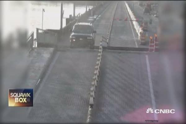 Car jumps Florida drawbridge... barely!