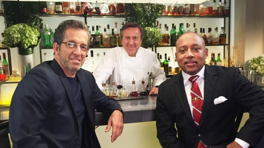 Fashion Designer Kenneth Cole (left), Chef Daniel Boulud and Shark Tank's Daymond John at Daniel Restaurant