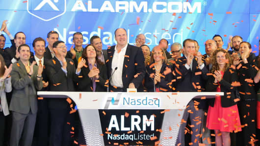 Alarm.com opens for trading on The Nasdaq Stock Market on the day of the company's IPO, in New York, June 26, 2015.