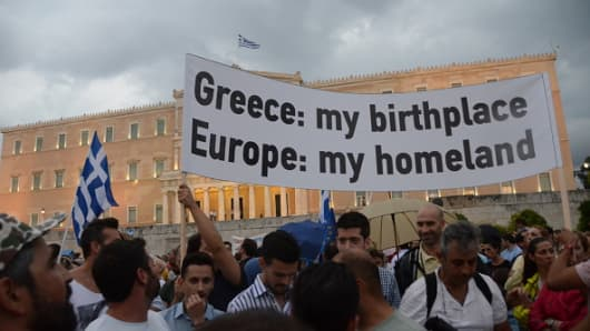 Demonstration in Syntagma square in support of a YES vote in the 5th of July Referandum in Greece on July 30 2015.